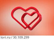 Купить «Composite image of linking hearts», фото № 30109299, снято 21 января 2015 г. (c) Wavebreak Media / Фотобанк Лори