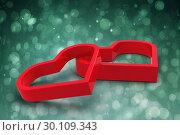 Купить «Composite image of linking hearts», фото № 30109343, снято 21 января 2015 г. (c) Wavebreak Media / Фотобанк Лори