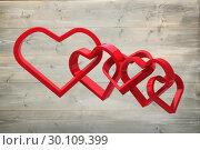 Купить «Composite image of linking hearts», фото № 30109399, снято 21 января 2015 г. (c) Wavebreak Media / Фотобанк Лори