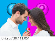 Composite image of handsome man offering his girlfriend a rose. Стоковое фото, агентство Wavebreak Media / Фотобанк Лори