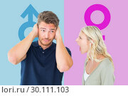Купить «Composite image of man not listening to his shouting girlfriend», фото № 30111103, снято 23 января 2015 г. (c) Wavebreak Media / Фотобанк Лори