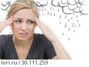 Купить «Composite image of woman with headache», фото № 30111259, снято 23 января 2015 г. (c) Wavebreak Media / Фотобанк Лори