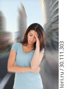Купить «Composite image of woman with headache», фото № 30111303, снято 23 января 2015 г. (c) Wavebreak Media / Фотобанк Лори