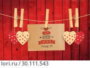 Купить «Composite image of cute valentines message», фото № 30111543, снято 23 января 2015 г. (c) Wavebreak Media / Фотобанк Лори