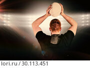 Купить «Composite image of rugby player about to throw a rugby ball», фото № 30113451, снято 17 сентября 2015 г. (c) Wavebreak Media / Фотобанк Лори