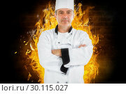 Купить «Composite image of serious chef crossed arms», фото № 30115027, снято 27 апреля 2016 г. (c) Wavebreak Media / Фотобанк Лори