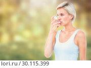 Купить «Composite image of blonde woman taking her inhaler», фото № 30115399, снято 27 апреля 2016 г. (c) Wavebreak Media / Фотобанк Лори