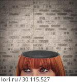 Купить «Composite image of red head woman with copy space», фото № 30115527, снято 27 апреля 2016 г. (c) Wavebreak Media / Фотобанк Лори