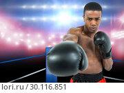 Купить «Boxer performing upright stance», фото № 30116851, снято 1 мая 2016 г. (c) Wavebreak Media / Фотобанк Лори