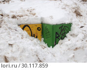 Купить «Урны для раздельного сбора мусора зимой», фото № 30117859, снято 17 февраля 2019 г. (c) Ельцов Владимир / Фотобанк Лори