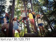 Купить «Group of friends having fun in forest», фото № 30120791, снято 20 июля 2016 г. (c) Wavebreak Media / Фотобанк Лори