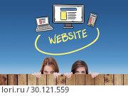 Купить «Composite image of technology with website text», фото № 30121559, снято 15 сентября 2016 г. (c) Wavebreak Media / Фотобанк Лори
