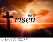 Купить «Text again picture of cross at sunrise», фото № 30122771, снято 23 ноября 2016 г. (c) Wavebreak Media / Фотобанк Лори