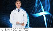 Купить «Doctor using digital tablet against medical backgorund», фото № 30124723, снято 8 декабря 2016 г. (c) Wavebreak Media / Фотобанк Лори