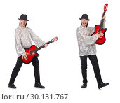 Купить «Young man with guitar isolated on white», фото № 30131767, снято 24 марта 2019 г. (c) Elnur / Фотобанк Лори