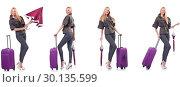 Купить «Young beautiful woman with suitcase and umbrella isolated on whi», фото № 30135599, снято 19 марта 2019 г. (c) Elnur / Фотобанк Лори