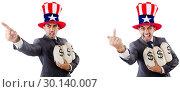 Купить «Man with american hat with moneybags», фото № 30140007, снято 17 июня 2019 г. (c) Elnur / Фотобанк Лори