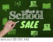 Купить «Hand writing Back to school sale with education drawings on blackboard with chalk», фото № 30151143, снято 24 июля 2017 г. (c) Wavebreak Media / Фотобанк Лори