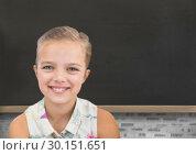 Купить «blackboard with girl», фото № 30151651, снято 24 июля 2017 г. (c) Wavebreak Media / Фотобанк Лори