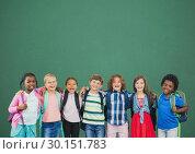 Купить «Group of school kids  in front of  blackboard», фото № 30151783, снято 24 июля 2017 г. (c) Wavebreak Media / Фотобанк Лори