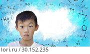 Купить «Boy in front of math equations», фото № 30152235, снято 24 июля 2017 г. (c) Wavebreak Media / Фотобанк Лори