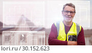 Купить «Composite image of close up portrait of senior worker wearing reflective clothing», фото № 30152623, снято 18 августа 2017 г. (c) Wavebreak Media / Фотобанк Лори