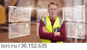 Купить «Composite image of portrait of senior worker wit arms crossed wearing reflective clothing», фото № 30152635, снято 18 августа 2017 г. (c) Wavebreak Media / Фотобанк Лори