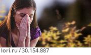 Купить «Autumn leaves and sick woman with flu», фото № 30154887, снято 1 октября 2018 г. (c) Wavebreak Media / Фотобанк Лори
