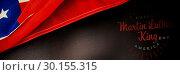 Купить «Composite image of happy martin luther king day, god bless america», фото № 30155315, снято 18 ноября 2018 г. (c) Wavebreak Media / Фотобанк Лори