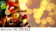 Купить «Composite image of defocused of christmas tree lights and fireplace», фото № 30155823, снято 18 ноября 2018 г. (c) Wavebreak Media / Фотобанк Лори