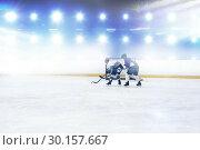 Composite image of players playing ice hockey. Стоковое фото, агентство Wavebreak Media / Фотобанк Лори