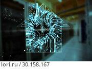 Купить «Composite image of house shape over circuit board», фото № 30158167, снято 18 декабря 2018 г. (c) Wavebreak Media / Фотобанк Лори