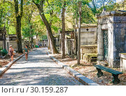 Купить «A view of the Pere Lachaise, the most famous cemetery of Paris, France, with the tombs of very famous people», фото № 30159287, снято 9 сентября 2018 г. (c) Николай Коржов / Фотобанк Лори