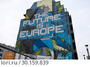 Купить «Brussels, Brussels-Capital Region, Belgium - Huge mural with the sentence The Future is Europe on a house wall.», фото № 30159839, снято 15 декабря 2018 г. (c) Caro Photoagency / Фотобанк Лори