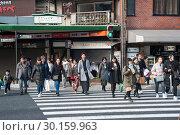 Купить «Kyoto, Japan, pedestrians cross a pedestrian crosswalk », фото № 30159963, снято 25 декабря 2017 г. (c) Caro Photoagency / Фотобанк Лори