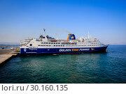 Купить «Ferry, Golden Star Ferries, Rafina, Greece, Europe», фото № 30160135, снято 4 сентября 2018 г. (c) Caro Photoagency / Фотобанк Лори