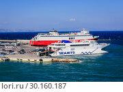 Купить «Ferries in the port of Rafina, Attica, Greece, Europe», фото № 30160187, снято 17 сентября 2018 г. (c) Caro Photoagency / Фотобанк Лори
