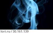 Купить «Thin trickle of blue smoke slowly rising graceful twists on black background blowing from bottom to top. Close Up, Slow motion», видеоролик № 30161139, снято 8 августа 2018 г. (c) Некрасов Андрей / Фотобанк Лори