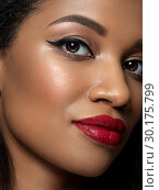 Young beautiful black woman with evening makeup. Стоковое фото, фотограф Людмила Дутко / Фотобанк Лори