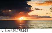 Купить «Timelapse view of the dramatic sky during a hurricane and sunset over the Black Sea. Georgia», видеоролик № 30175923, снято 23 января 2019 г. (c) Mikhail Starodubov / Фотобанк Лори