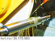 Купить «Thread cutting on polishing machine with oil lubrication», фото № 30175983, снято 15 мая 2018 г. (c) Дмитрий Калиновский / Фотобанк Лори