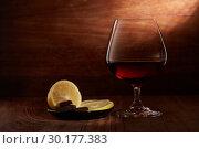 Купить «Cognac, lemon and chocolate.», фото № 30177383, снято 17 октября 2018 г. (c) Мельников Дмитрий / Фотобанк Лори
