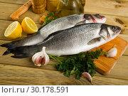 Купить «Branzino fish on cutting board», фото № 30178591, снято 22 августа 2019 г. (c) Яков Филимонов / Фотобанк Лори