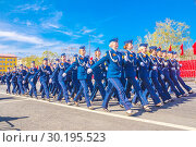 Купить «Russia Samara May 2018: beautiful women soldiers are marching in formation.», фото № 30195523, снято 5 мая 2018 г. (c) Акиньшин Владимир / Фотобанк Лори