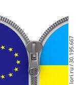 flag EU and Ukraine and zipper. 3D illustration. Стоковая иллюстрация, иллюстратор Ильин Сергей / Фотобанк Лори