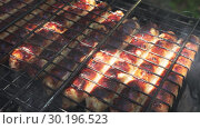 Close-up - Golden Tasty Sausages Are Grilled On A Grill. Стоковое видео, видеограф Pavel Biryukov / Фотобанк Лори