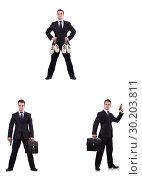 Купить «Businessman with money sacks, briefcase and handgun», фото № 30203811, снято 22 марта 2019 г. (c) Elnur / Фотобанк Лори