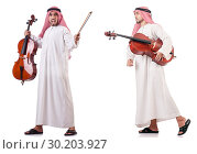 Купить «Arab man playing cello isolated on white», фото № 30203927, снято 8 июля 2020 г. (c) Elnur / Фотобанк Лори