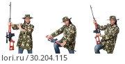 Купить «Soldier with weapons isolated on white», фото № 30204115, снято 8 января 2015 г. (c) Elnur / Фотобанк Лори