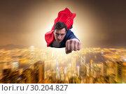 Купить «Superhero businessman flying over the city», фото № 30204827, снято 6 декабря 2019 г. (c) Elnur / Фотобанк Лори